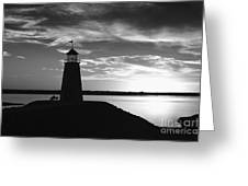 Lighthouse In Black And White Greeting Card