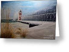 South Haven Mi Lighthouse In Four Seasons-winter Greeting Card