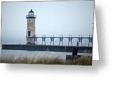 Lighthouse In Haze Greeting Card