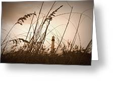 Lighthouse In The Distance Inn Sepia Greeting Card by Laurie Perry
