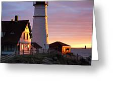Lighthouse In The Morning Greeting Card