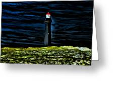 Lighthouse In The Night Greeting Card