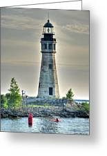 Lighthouse Just Before Sunset At Erie Basin Marina Greeting Card