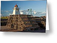 Lighthouse On A Channel By Cascumpec Bay On Prince Edward Island No. 094 Greeting Card