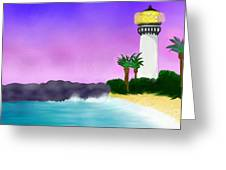 Lighthouse On Beach Greeting Card