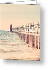 Lighthouse On Lake Michigan Greeting Card
