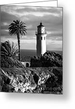 Lighthouse On The Bluff Greeting Card