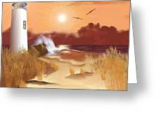 Lighthouse On The Coast Greeting Card