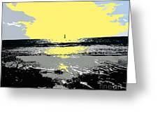 Lighthouse On The Horizon Greeting Card