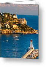Lighthouse On The Riviera Greeting Card