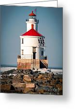 Lighthouse On The Rocks Greeting Card