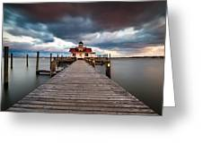 Lighthouse - Outer Banks Nc Manteo Lighthouse Roanoke Marshes Greeting Card