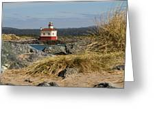 Lighthouse Over The Dunes Greeting Card