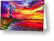 Lighthouse - Palette Knife Oil Painting On Canvas By Leonid Afremov Greeting Card