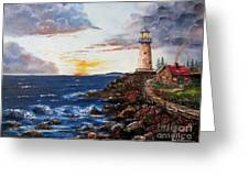 Lighthouse Road At Sunset Greeting Card