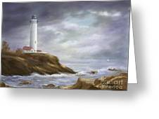Lighthouse Stormy Sky Seascape Greeting Card