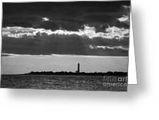 Lighthouse Sun Rays Bw Greeting Card