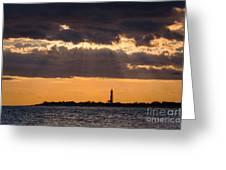 Lighthouse Sun Rays Greeting Card