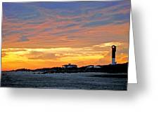 Lighthouse Sunset By Jan Marvin Greeting Card