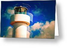 Lighthouse To The Clouds Greeting Card