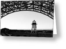 Lighthouse Under Golden Gate Greeting Card