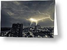 Lightning Over Downtown Yxe Greeting Card
