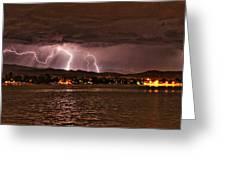 Lightning Over Lake Loveland Greeting Card
