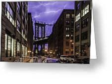 Lightning Over Manhattan Bridge Greeting Card