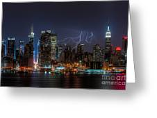 Lightning Over New York City IIi Greeting Card by Clarence Holmes