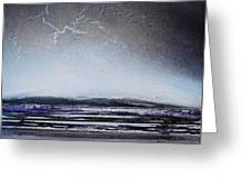 Lightning Storm Druridge Bay 1 Greeting Card by Mike   Bell