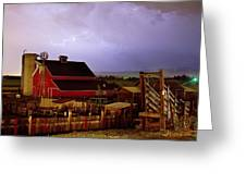 Lightning Strikes Over The Farm Greeting Card by James BO  Insogna