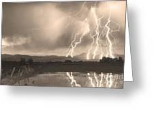 Lightning Striking Longs Peak Foothills Sepia 4 Greeting Card