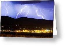 Lightning Striking Over Ibm Boulder Co 3 Greeting Card