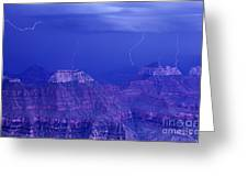 Lightning Strkes At The North Rim Grand Canyon National Park Greeting Card