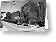 Light Rail Line And Old Downtown Buildings_bwhdr Greeting Card