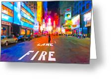 Lights Are Bright On Broadway - Times Square Greeting Card