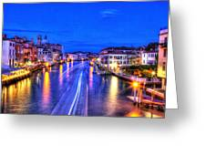 Lights On The Canal Greeting Card