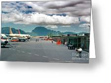 Lihue Airport With Cumulus Clouds In Kauai Hawaii  Greeting Card