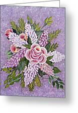 Lilac And Rose Bouquet Greeting Card