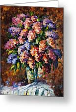 Lilac - Palette Knife Oil Painting On Canvas By Leonid Afremov Greeting Card