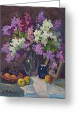 Lilacs And Blue Vase Greeting Card