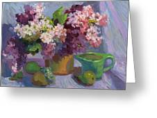 Lilacs And Pears Greeting Card