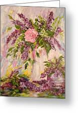Lilacs And Peony Greeting Card