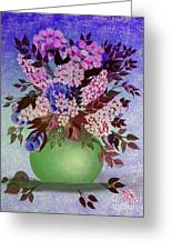 Lilacs And Queen Anne's Lace In Pink And Purple Greeting Card