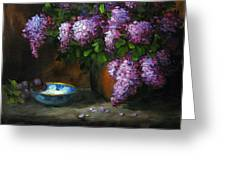 Lilacs In Copper Pot Greeting Card