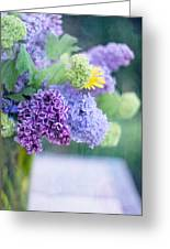 Lilacs On The Table Greeting Card by Rebecca Cozart