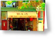 Lili And Oli Latte Espresso Cappucino Coffee Shop Rue Notre Dame St Henri City Scene Carole Spandau Greeting Card