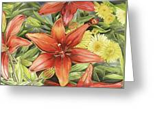 Lilies And Daisies Greeting Card