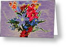 Lilies And Orchids Topaz II Greeting Card
