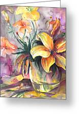 Lilies In A Vase Greeting Card